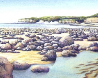 "Original painting of Welsh Coast | Watercolour landscape | 16"" x 5"" 