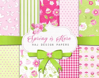 "Floral digital paper : ""Spring is Here"" pink and green digital paper with pink flowers / spring digital paper / colorful scrapbook paper"