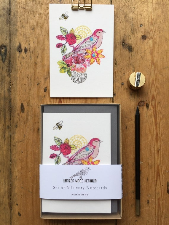 Vintage Bird notecards-set of 6- boxed