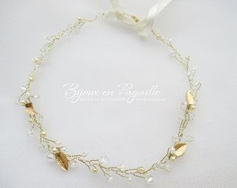 Wedding hair accessory - bridal crown headband - gold leaves and ivory pearls