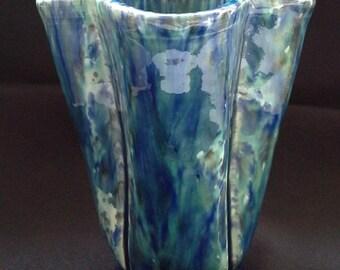 Vase blue/green Nebula glaze