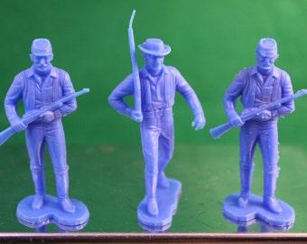 Vintage Set of (3) Marx Civil War Plastic Action Figures