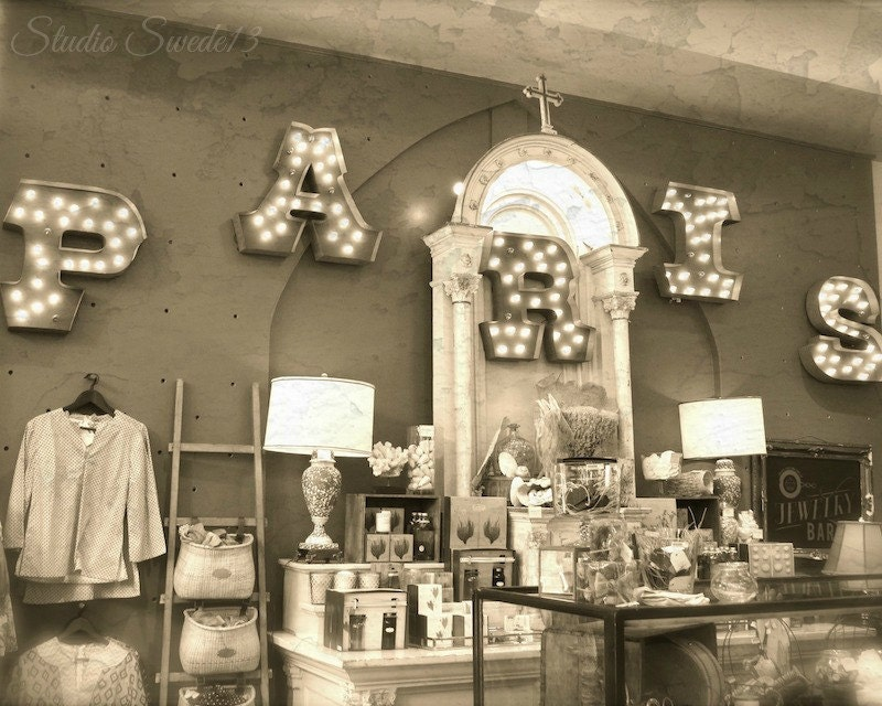 Paris decor savannah shop photo sepia print boutique decor for Boutique decoration paris