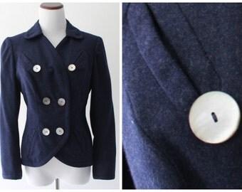 Vintage Milgrim 1950s Blue Wool Blazer / Double Breasted / Custom Tailored in United Kingdom / Sally Milgrim