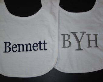Personalized baby bib monogrammed personalized gifts baby personalized baby bibs set of 2 baby bib monogrammed baby bibs bib negle Image collections