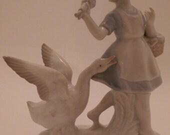 Vintage Girl and Goose Figurine