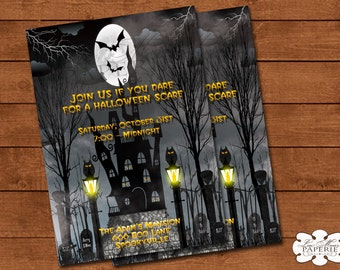 halloween invitation, halloween digital invite, haunted house party invitation, halloween party invite - DIY PRINTABLE