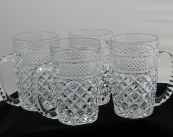 Vintage Anchor Hocking Wexford glass mugs set of 4 discontinued