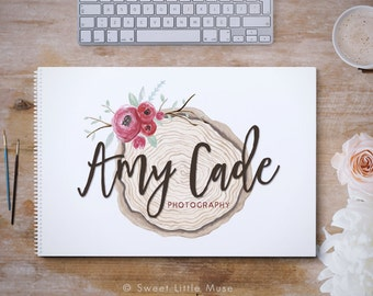 Rustic logo Design - Photography Logo - Handpainted Logo - Watercolor Photography branding - logo and watermark - premade logo