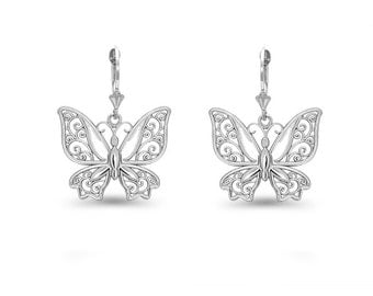 Sterling Silver Butterfly lever back earrings