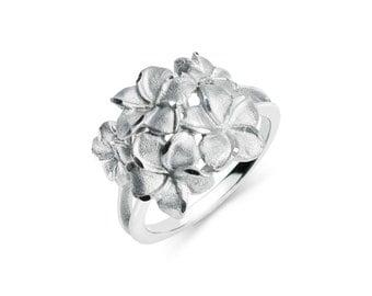 Sterling Silver Plumeria Ring, Plumeria Ring, Silver Ring, Plumeria Jewelry, Floral Jewelry, Floral Ring, Flower Ring, Fancy Ring, Plumeria