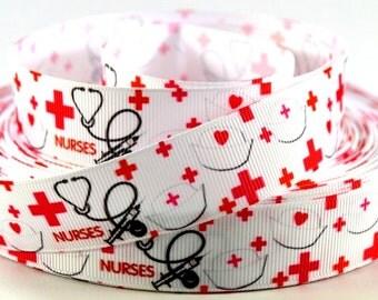 "Nurses Print Grosgrain Ribbon 7/8"""
