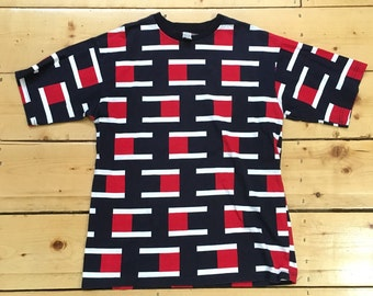 Rare Weird Vintage 90s Tommy Style Color Blocks All Over Print T Shirt - Large
