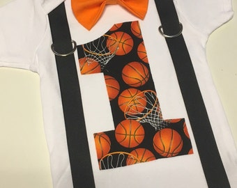 Basketball first birthday onesie with suspenders and bow tie
