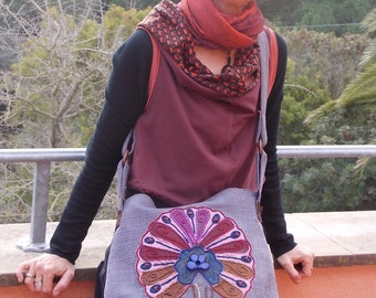 "shoulder bag ""tree of life"" in shantung silk"