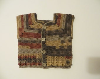 Crochet Boys Vest, Spring Toddler Clothes,  2 to 4 years, Sweater vest, Spring vest, Sleeveless Cardigan, Multi-Colour, brown, grey