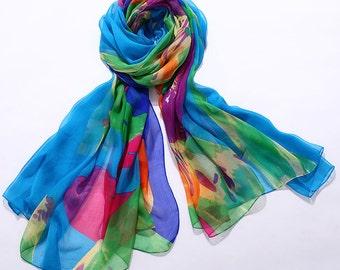 Floral Printed Silk Chiffon Scarf - Silk Scarf with Floral Print - AS2016-6