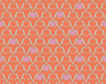1/2 yard ZOMBIE LOVE by Emily Taylor for Riley Blake Heart Orange