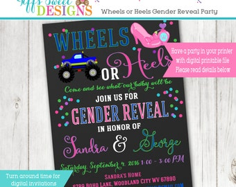 Wheels or Heels  Gender Reveal Party Invitation  - Pink and Blue - Boy or Girl -  Printable - Chalkboard