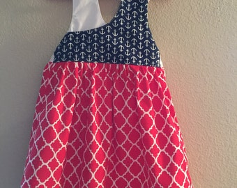 Red White & Blue Anchor Dress with Matching Bow