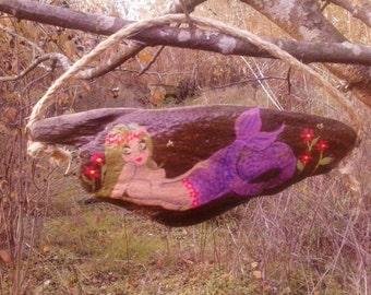 Green haired flower child hippie mermaid driftwood art