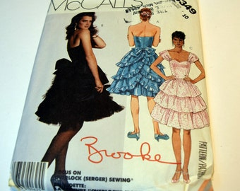 Vintage 1980s McCalls 3349 Ruffled 80's patry dress straps or strapless sewing pattern
