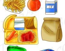 50% OFF SALE School Lunch Clipart Set, Food, Tray, Brown Paper Bag, Sandwich, Apple, Orange, Scrapbooking, Milk, Hand Drawn, Illustrations V