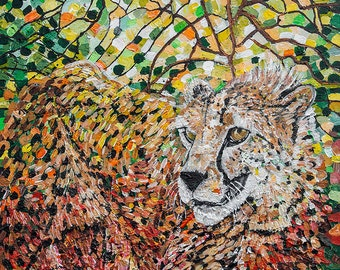 Cheetah Camouflage - Original Contemporary Acrylic Painting on Canvas Board by Diane Griffiths Big Cat Art