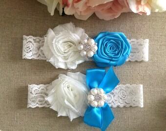 Wedding Garter - Bridal Garter - Turquoise Blue and Ivory Flower Garter and Toss Garter Set