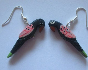 Handmade black and pink wooden parrot earrings