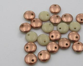 6mm Lentil Beige/Copper Glass Bead  50 Pieces