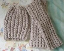 Beige Hat + leg warmers (ladies size)