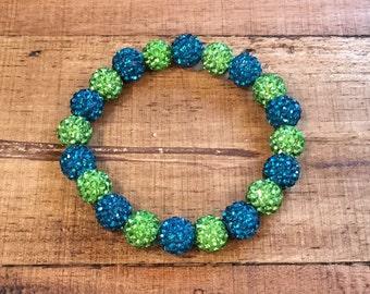 Rustic Lime and Deep Turquoise Elastic Shamballa Bracelet - 10mm beads