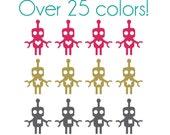 Robot Nail Decals - Vinyl, Custom Color Choice