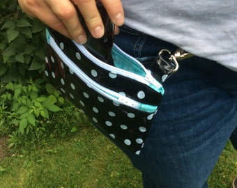 Black polka dot fanny pack, hip pouch, motorcycle bag, belt bag, hip purse, hip bag