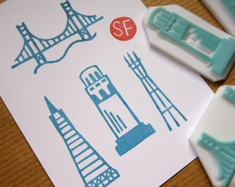 San Francisco California USA Landmarks rubber stamps - Set of 5