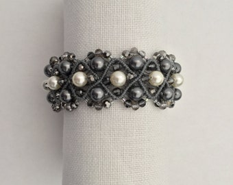 Grey and Off-Whte Pearl and Crystal Bracelet