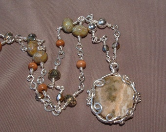 Ocean Jasper and sterling silver wire wrapped and beaded necklace