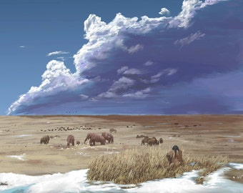 "Print of ""Clovis People"" Historical Painting of Prehistoric America with Mammoths and Bison on Plains with Snow Landscape Wall Art"