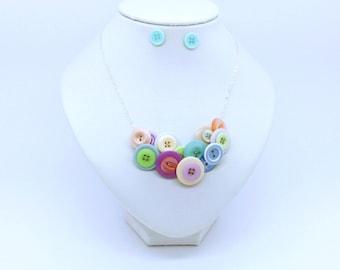 Button Necklace & Earring Set - Pastels