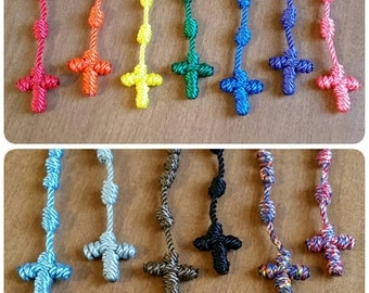 Twisted nylon twine knotted rosary. Five decade rosary necklace.
