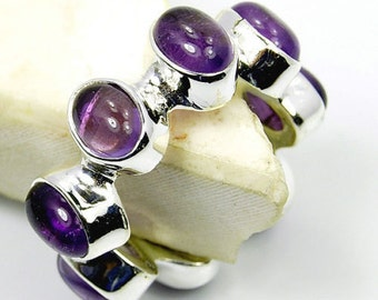 Amethyst & .925 Sterling Silver Multistone Ring Size 8.5 Jewelry , T497
