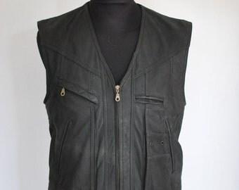 Vintage MEN'S LEATHER VEST , leather vest .....(009)