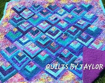 Purple Quilt, Blue Quilt, Fiber Art Quilt, Lap Quilt 54 X 54 , Rainbow Quilt, Hand Dyed Quilt, Modern Quilt
