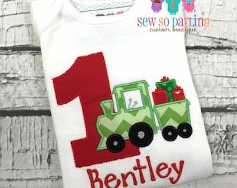 Baby Boy Christmas Birthday Outfit - Birthday Christmas Train Shirt - Christmas Birthday Shirt - Christmas Train Shirt - 1st birthday shirt