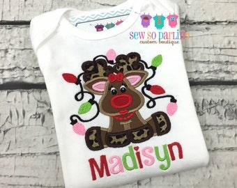 Baby Girl Christmas reindeer Outfit - Reindeer Baby Christmas Outfit - Girl Christmas Shirt -  Girl Reindeer Shirt - Baby Girl Christmas