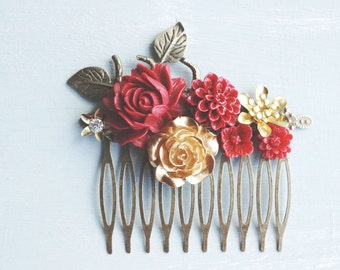 Hair Comb, Gold and Red resin flower hair comb.