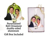 Custom Photo Ornament - Wedding Bell - your photo turned into a unique gift - First Christmas Together - 2 sided