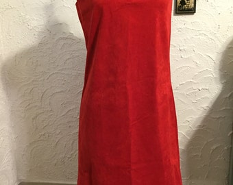 Vintage Red Suede Fabric Sleeveless Dress Size Small Hipster Dress