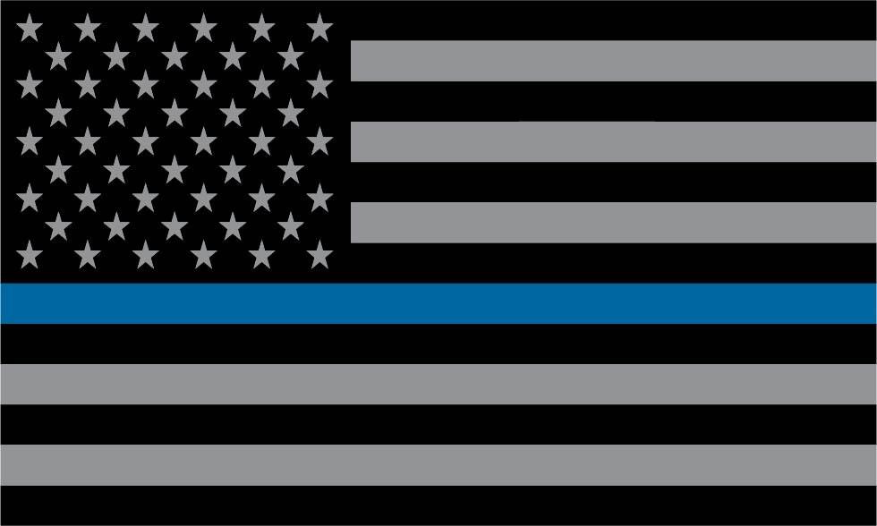 Police Blue Stripe American Flag Vinyl Decal Sticker